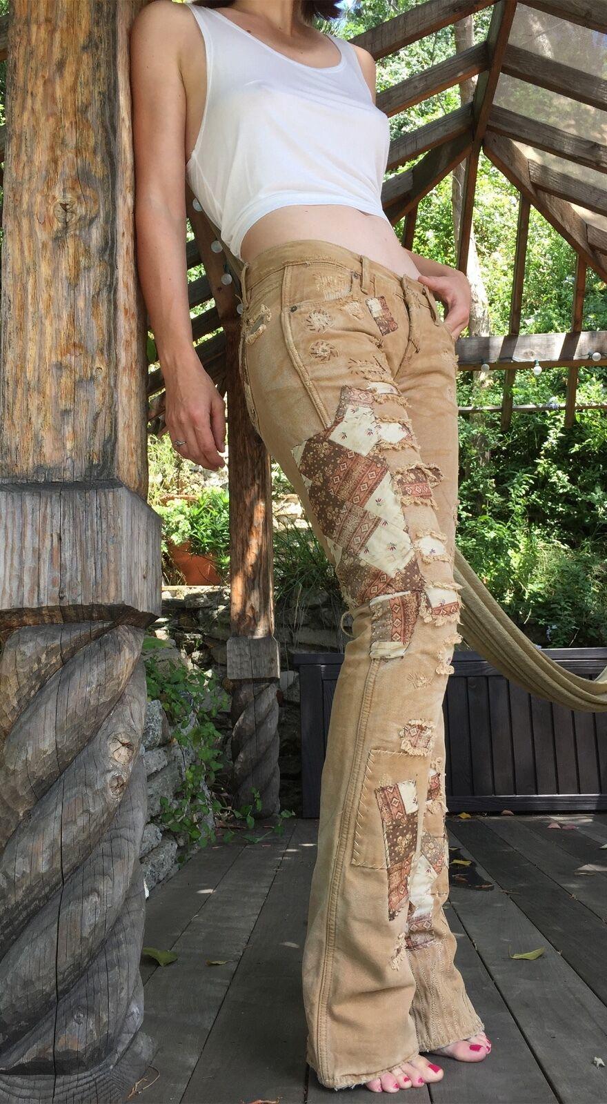RALPH LAUREN Patched Tan Hippie Retro Canvas Pant Sz 26 - 27 34