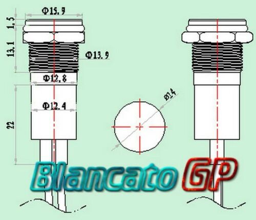 SPIA LED 14mm CON SIMBOLO ANABBAGLIANTI metallo lampada 12V low beam indicator