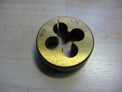 """NEW M12x1.75 Metric Die 1.5/"""" Titanium Nitride Coated Alloy Steel Slotted #T16D"""
