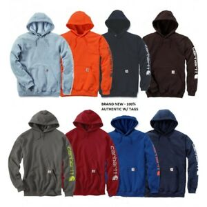 CARHARTT-Men-039-s-Authentic-Hooded-Sweatshirt-Signature-Sleeve-Logo-Hoody-k288