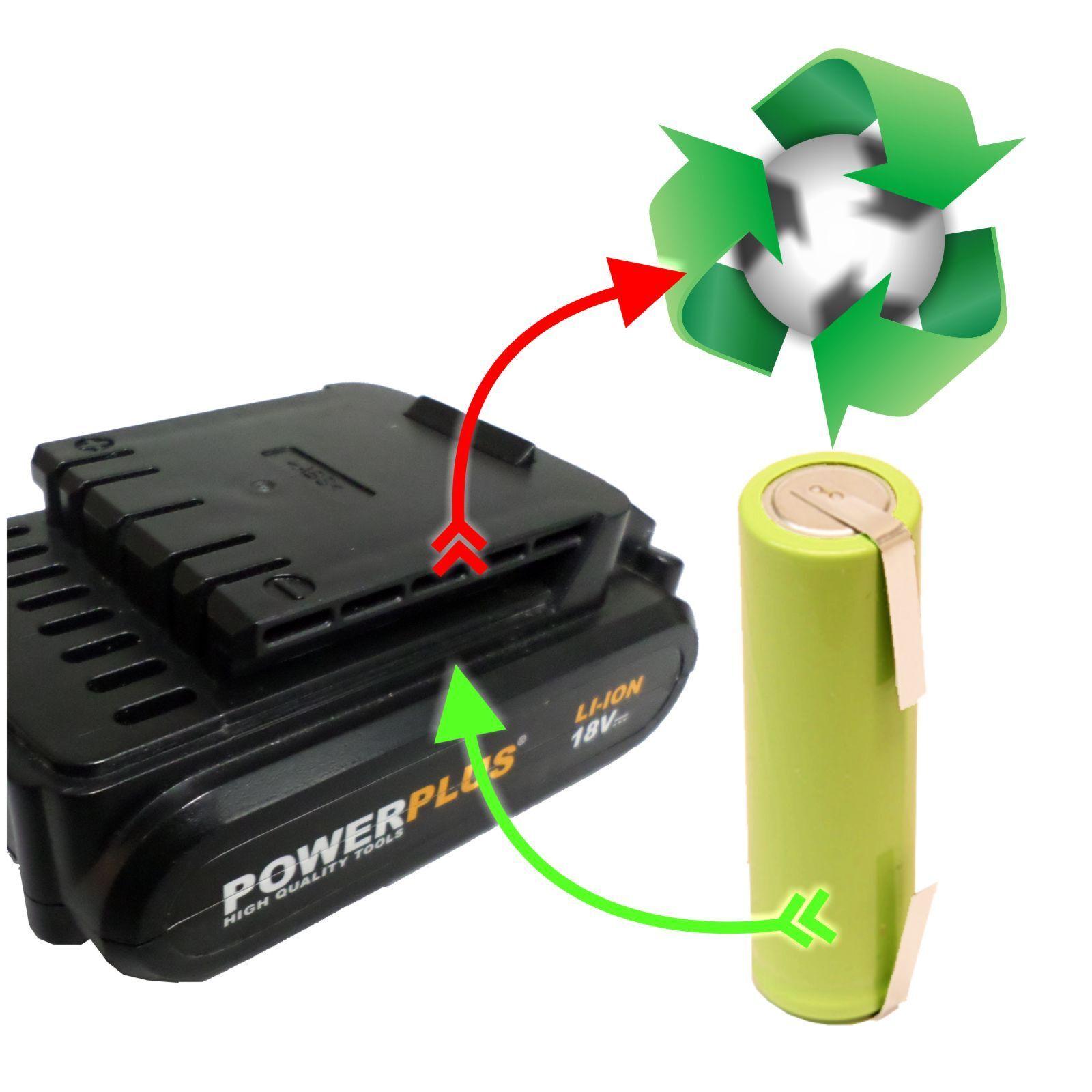 Akkutausch Zellentausch für POWERPLUS POWX0068LI  2,9Ah statt 1,3Ah 18V