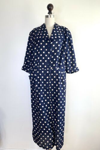 Vintage 30s 40s Rayon Button front Day Dress navy