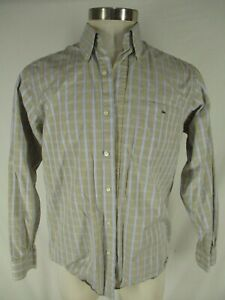 Lacoste-Mens-Beige-Plaid-Long-Sleeve-Cotton-Shirt-Size-41-M