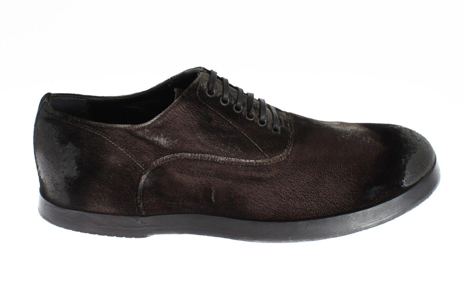 Nuovo Dolce & Gabbana Scarpe Velluto Marrone Casual Uomo Lacci EU42.5/US9.5 Scarpe classiche da uomo