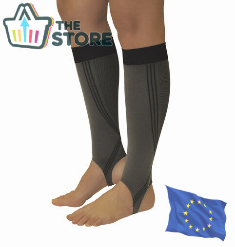 COMPRESSION CALF SLEEVES with Stirrup Leg Support Sports Running Guard Brace
