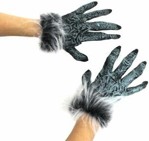 LUCKSTAR Wolf Gloves Black Halloween Latex Wolf Gloves Scary Hairy Hands Werewolf Paw Party Costumes Props for Halloween and Cosplay Costume Party Christmas