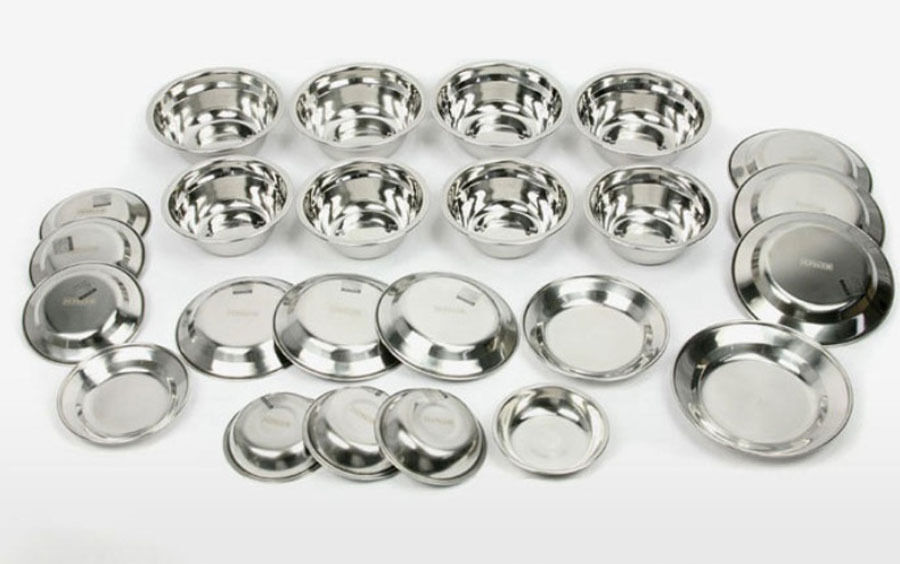 Stainless steel Tableware Bowl Plate Camping Cookware Cooking Portable Set 24p