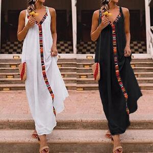 New-Women-039-s-Maxi-Dress-Plus-Size-Ladies-Summer-Beach-Sleeveless-Floral-Tank-Cami