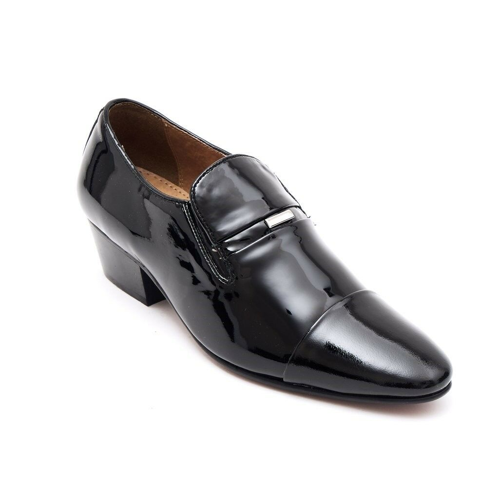 Lucini Mens Formal Cuban Heels Real Leather Slip On Wedding Shoes Black Patent