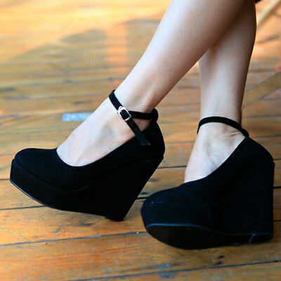 Womens High Heels Wedges Platforms Round Toe Ankle Strap Classic Pumps Shoes 1lE