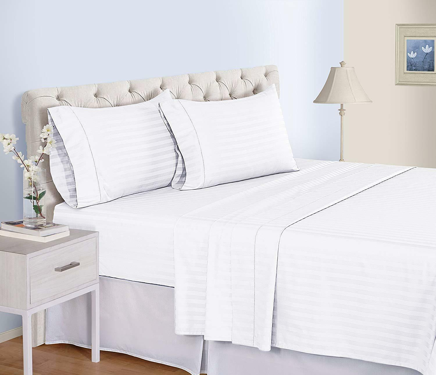 Comfort Bedding Collection 1000 TC Egyptian Cotton White Striped All US Sizes
