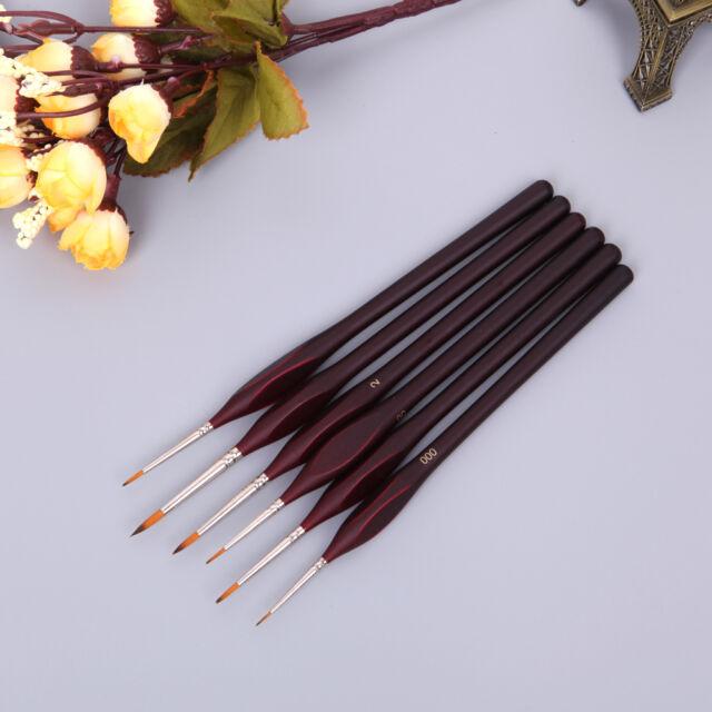 6Pcs New Premium Nylon Hair Painting Brush Set Acrylic Oil Watercolor Artist Pop