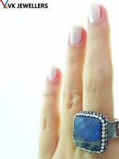 TURKISH HANDMADE 925 STERLING SILVER LABRADORITE DRUZY HAMMERED RING VK12