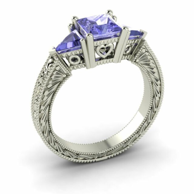 Natural Princess Cut Tanzanite Three Stone Engagement  Ring in White Gold-1.93 C