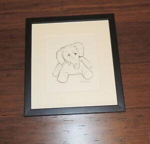 Baby-Elephant-SIGNED-Framed-Nursery-Print-Artwork-Drawings-Original-Pen-amp-Ink