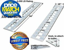 "84"" X 15"" Aluminum 6000 LBS Truck Car Auto Trailer Ramps Hook end, knife foot 7'"