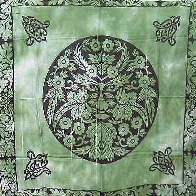 "Green Man Fringed Altar Cloth 36"" NEW Rayon Scarf Wicca Pagan Celtic Greenman"