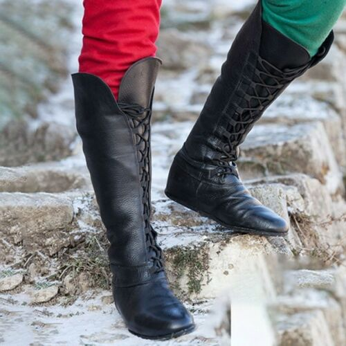 3 Color Womens Winter Fashion Faux Leather Lace Up Mid Calf Knight Boots Plus Sz