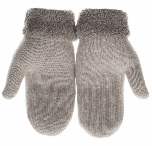 Womens Lined Knit Mittens Gray Super Warm Winter Gloves Knitted Mitten