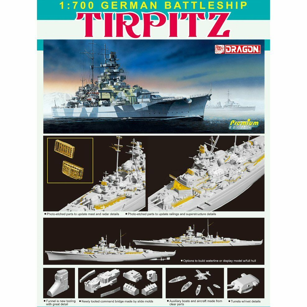 Dragon 7081 German Battleship Tirpitz 1 700 scale plastic model kit