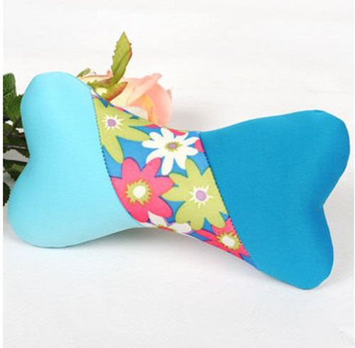Lovely Pet Blue Fabric Bone Shape Training Molar Teeth Cleaning Pillow Toy /&$