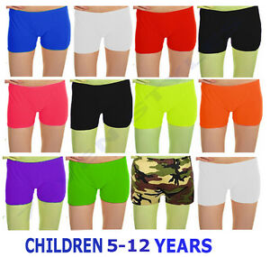 KIDS CHILDREN GIRLS NEON STRETCHY DANCE GYM HOT PANTS TUTU SHORTS AGE 5-12 YRS