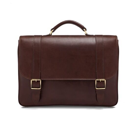 Aspinal of London Leather Satchel Briefcase in Smooth Chocolate Brown