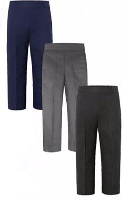 Boys School Uniform pull up Trousers Black Grey Navy Half elasticated all sizes