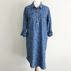 RB SELLARS Size 12 Blue Floral  Button Up Short Tunic Dress Long Sleeves Pockets