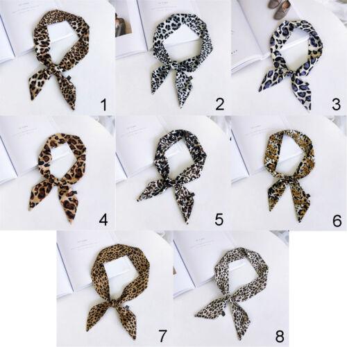 Women/'s Leopard Print Little Silk Scarf Hair Tie Band Ribbon Neckerchief