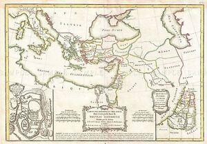 MAP-ANTIQUE-1771-BONNE-BIBLE-NEW-TESTAMENT-PLACES-REPLICA-POSTER-PRINT-PAM0218