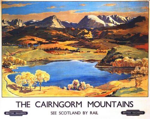 Vintage British Rail Cairngorm mountains Scotland Railway Poster A3//A2//A1 Print