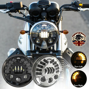 MOTORBIKE-7-034-LED-HEADLIGHTS-BLACK-70W-DOT-SAE-E9-INDICATOR-amp-DRL-UK-EU-7702B