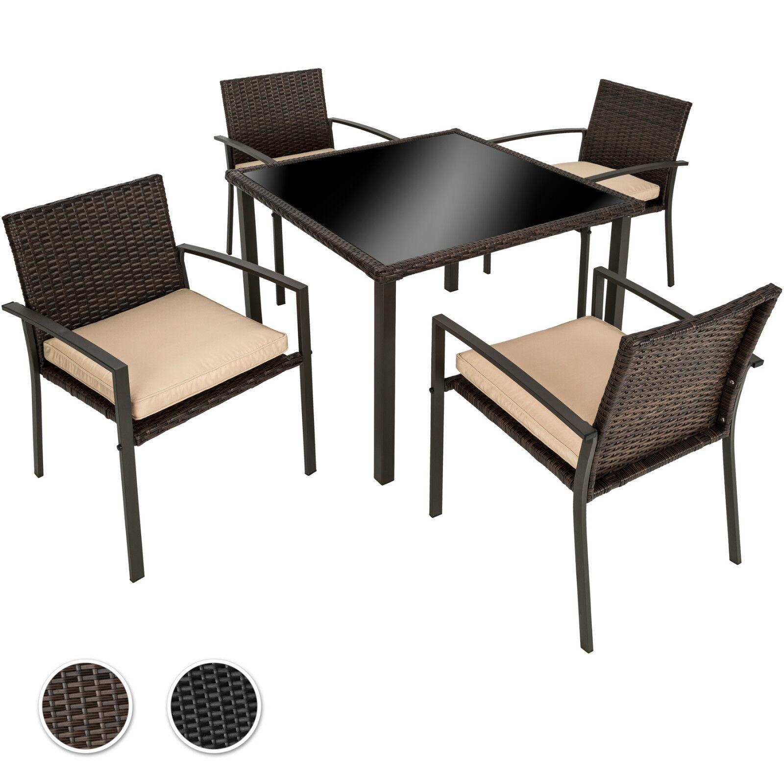 tressée jardin de Salon Ensemble poly résine table chaises ...