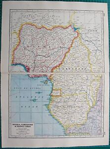 1920 map world war 1 africa nigeria cameroons french congo ebay image is loading 1920 map world war 1 africa nigeria cameroons gumiabroncs Image collections