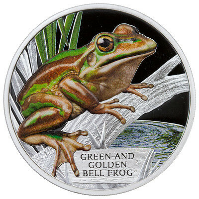 2017 Endangered Green & Golden Bell Frog Tuvalu 1 Oz Australia & Oceania Coins: World Proof Silver Coin Sku43324 Sufficient Supply