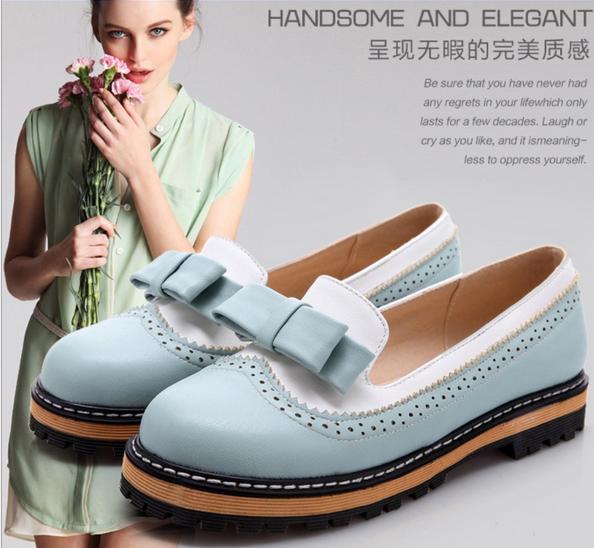 Womens Brogue Retro Bow Tie Lolita Flats Oxfords shoes Pump Loafers Plus size sz