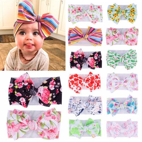 Baby Girl Knot Headband Print Bow Toddler Stretch Turban Head Wraps Headwear