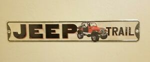 JEEP-TRAIL-METAL-SIGN-Raised-Letters-Wrangler-Rubicon-Gas-Garage-Tin-Decor-Wall