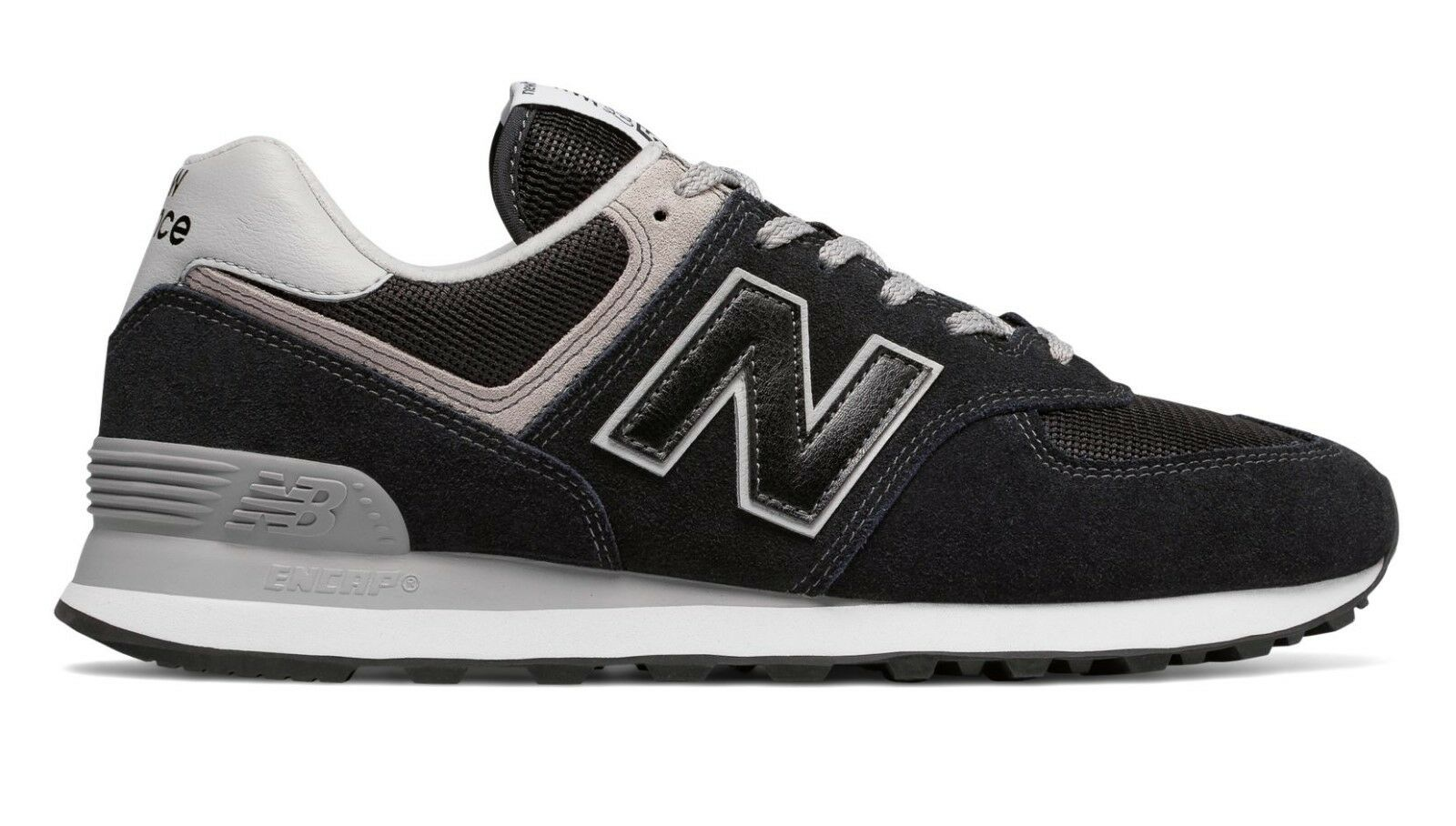Men's New Balance ML574EGK Black Grey Sizes 7 thru 9