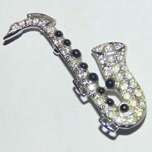 Vintage-signed-Ora-silver-tone-rhinestone-saxophone-music-instrument-pin-brooch
