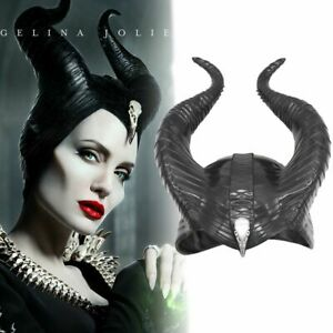 Details About Women Maleficent Costume Witch Black Horns Cosplay Mask Halloween Hat Prop 2019