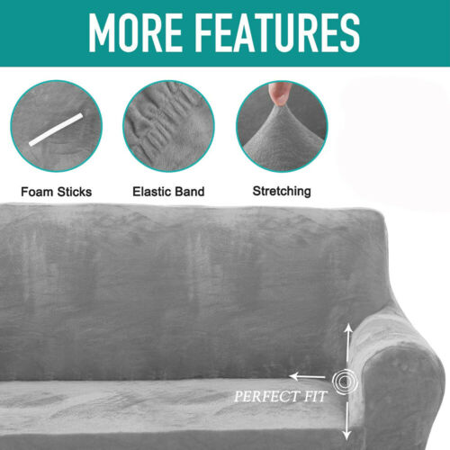 UK Sofa Covers Easy Fit Stretch Protector Soft Couch Cover Thick Plush Covers