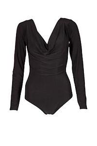 Ladies-Cowl-Neck-Long-Sleeve-Slinky-Bodysuit-Leotard-Top-Stretch-Size-8-14-UK