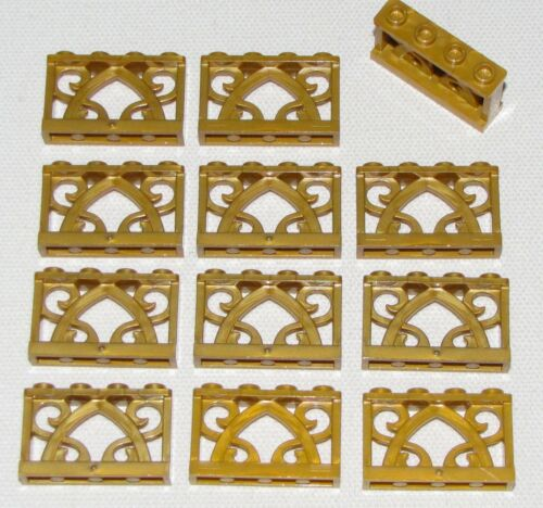 LEGO LOT OF 12 NEW PEARL GOLD 1 X 4 X 2 ORNAMENTED FENCES PIECES