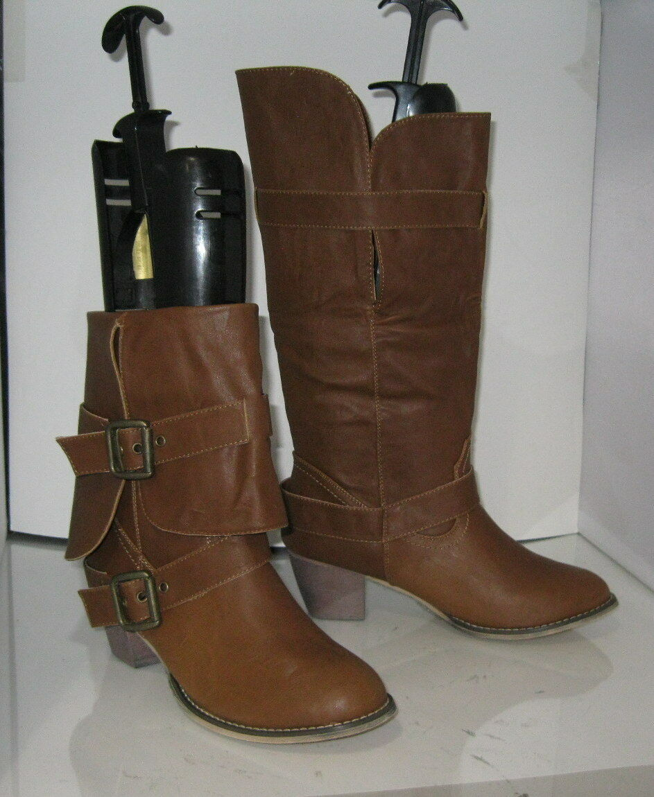 Brown 2.5  Block Heel Round Toe Buckle Sexy Mid-Calf Boot Size 7