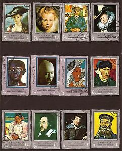 Briefmarke Großartige Format Entwertet 57t1 Jemen 12 Visages Berühmte Museum Sonstige Mittlerer Osten