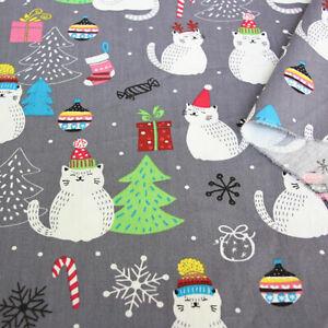 Weihnachten-Katze-Koeper-Baumwolle-Stoff-DIY-Bettwaesche-Tischset-Xmas-Party-Decor