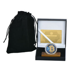 WR-24K-Color-Gold-BTC-Coin-Collector-Bitcoin-w-Wood-Stand-In-Gift-Box