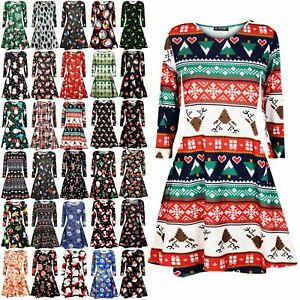 Womens-Xmas-Ladies-Santa-Snowman-Reindeer-Flare-Christmas-Smock-Swing-Mini-Dress
